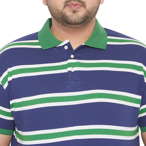 bigbanana Lever Navy Blue & Green Striped Polo Collar Bio-Finish T-shirt