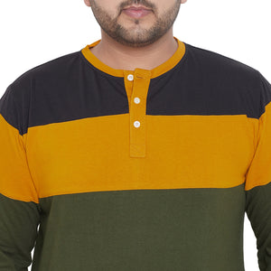 bigbanana Hampshire Yellow & Olive Green Colourblocked Mandarin Collar T-shirt