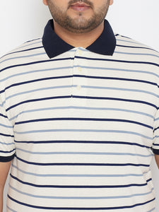 bigbanana Duncan White & Black Striped Plus Size Polo Collar T-shirt