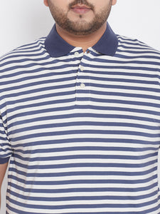 bigbanana Spanco Blue Striped Polo Neck T-shirt