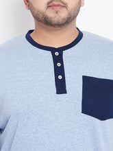 bigbanana Drew Solid Henley Neck T-shirt in Blue Melange