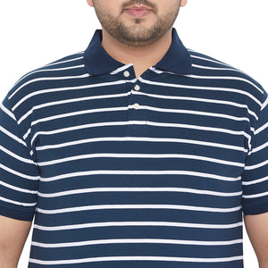 bigbanana Hayes Navy Blue & White Striped Polo Collar Bio Finish T-shirt