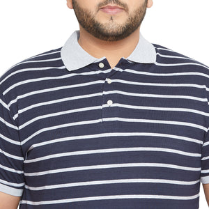 bigbanana Wagga Navy Blue Striped Polo Collar Bio Finish T-shirt