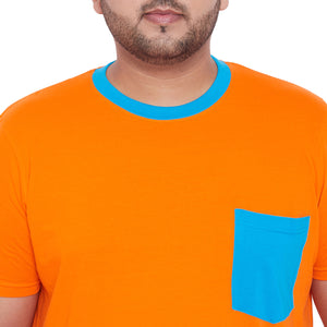 bigbanana Gavin Orange Solid Round Neck T-Shirt