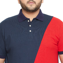 bigbanana Geelong Navy Blue Colourblocked Polo Collar T-shirt