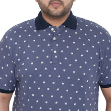 bigbanana Roope Blue & White Printed Plus Size Polo Collar T-shirt