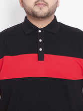 bigbanana Duke Black Colorblock Plus Size Polo T-Shirt