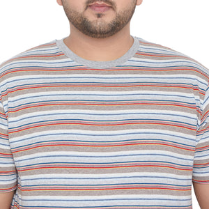 bigbanana Abbott Grey Striped Round Neck T-shirt