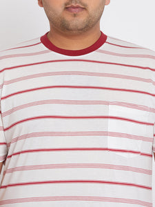 bigbanana Beck Striped Red and White Round Neck T-shirt