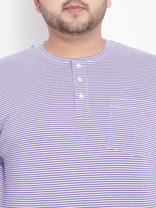 bigbanana Hank White Striped Henley Neck T-shirt