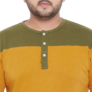 bigbanana Midlands Mustard Yellow & Olive Green Colourblocked Henley Neck T-Shirt