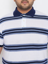 bigbanana Doyle White & Navy Blue Striped Polo Collar T-shirt