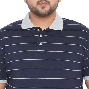 bigbanana Jameson Navy Blue & Grey Striped Polo Collar Bio-Finish T-shirt