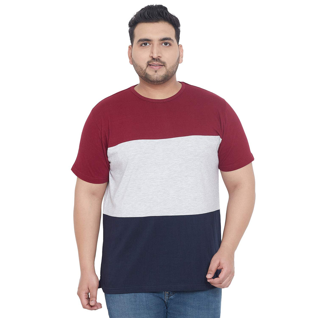 bigbanana Steele Maroon Colourblocked Round Plus Size Neck T-shirt