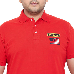 bigbanana Military Red Solid Polo T-Shirt