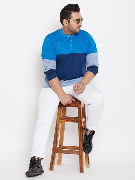 bigbanana Elmer Blue Colourblocked Henley Neck T-shirt