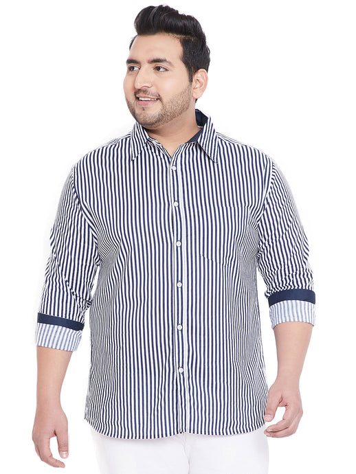 bigbanana Adel Blue & White Regular Fit Striped Casual Shirt