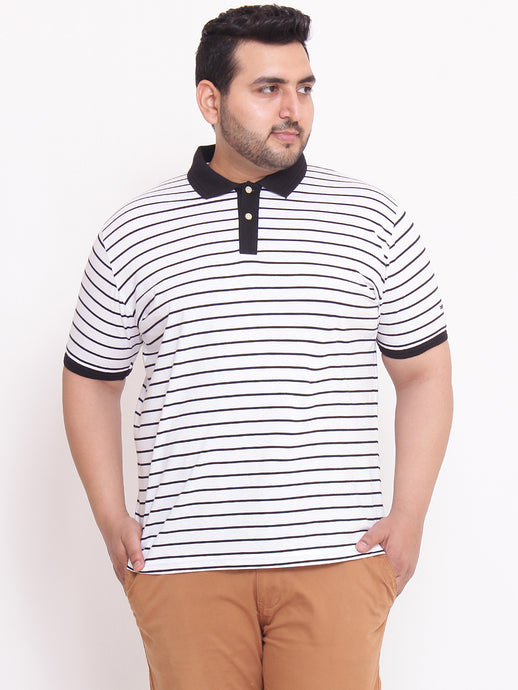 bigbanana Plus Size Aaron Polo T-shirt in White & Black Stripes - Bigbanana