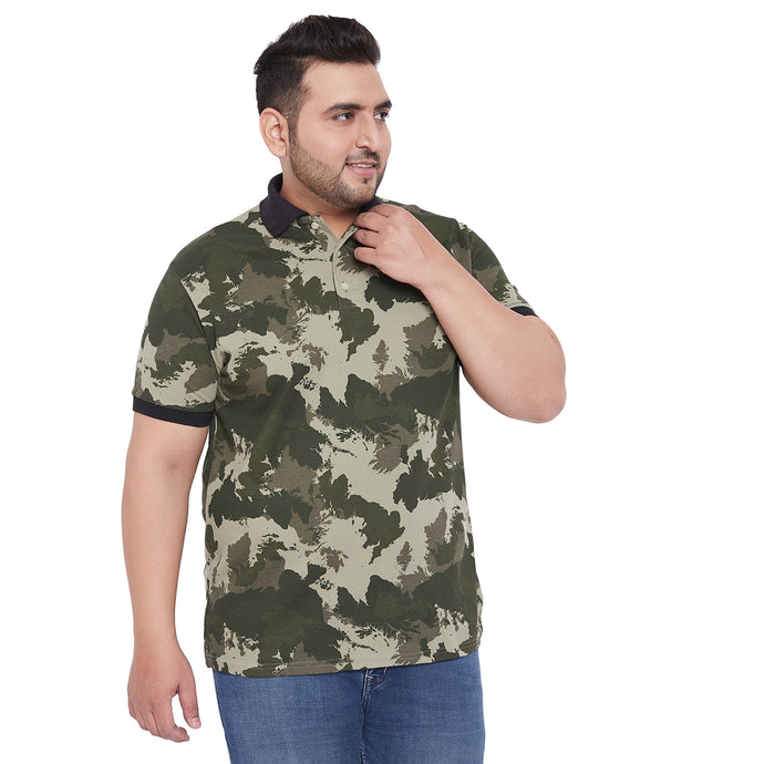 bigbanana Aavian Multicoloured Camoflauge Printed Plus Size Polo T-shirt