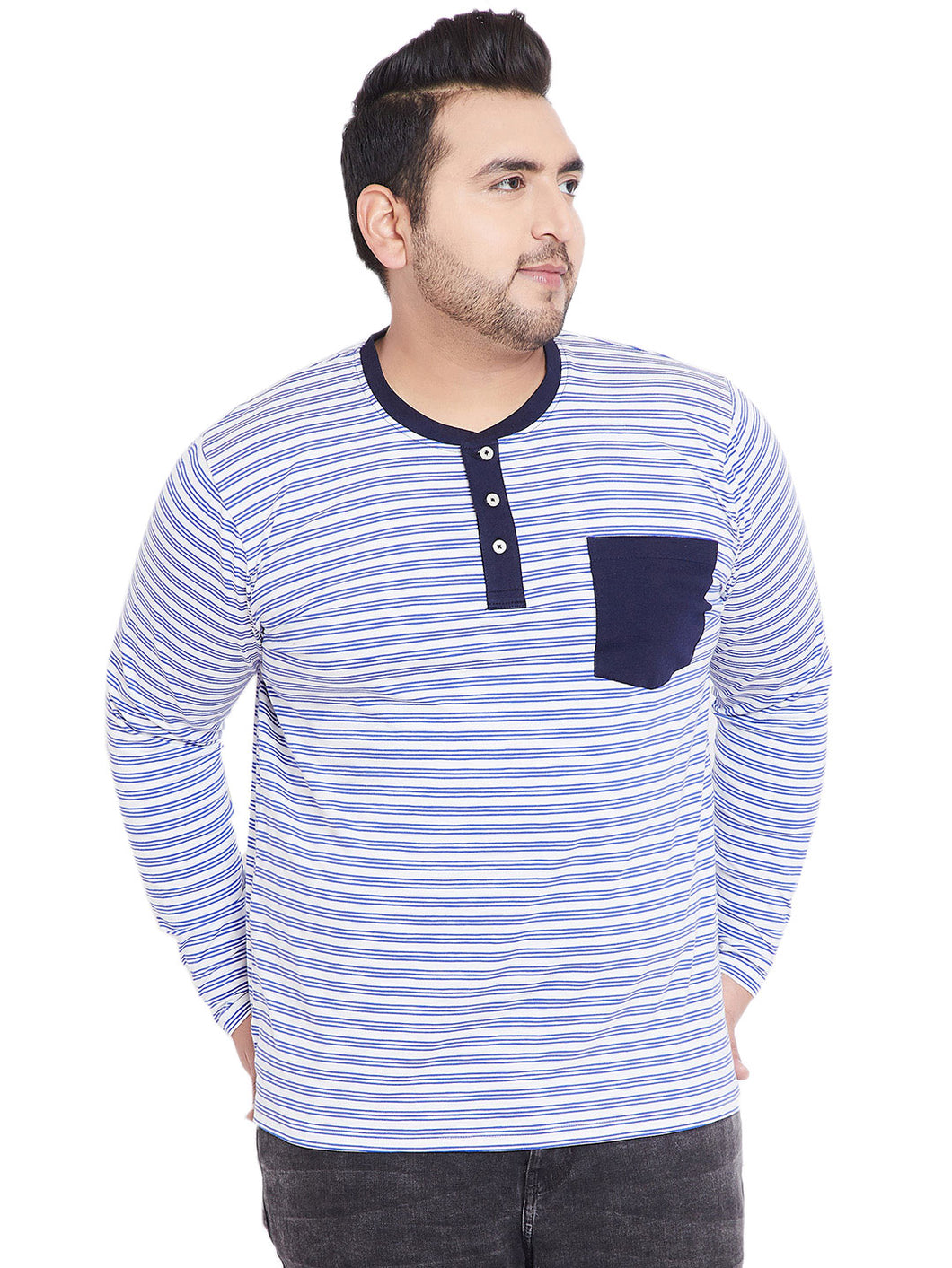 bigbanana Ackley White & Blue Striped Henley Neck T-shirt