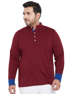 bigbanana Acton Maroon Solid Henley Neck T-shirt