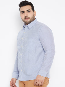 bigbanana Long Sleeves ADAM  Casual Shirt in Sky Blue Pinstripes - Bigbanana