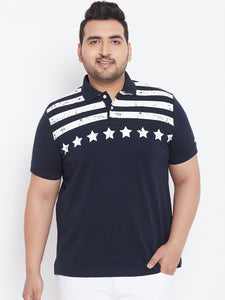 bigbanana Adler Navy Blue & Off-White Striped Polo Collar T-shirt