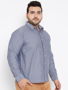 bigbanana Long Sleeves ALBERT  Casual Shirt in Blue Dobby fabric - Bigbanana