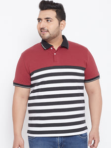 bigbanana Albie Multicoloured Striped Polo Collar T-shirt