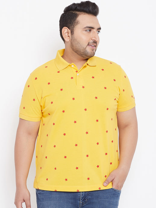 bigbanana Alcorn Yellow Printed Polo Collar T-shirt