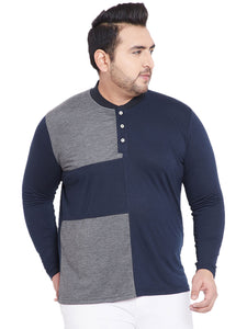 bigbanana Alcott Navy Blue & Grey Colourblocked Mandarin Collar T-shirt
