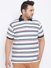 bigbanana Algie White Striped Plus Size Polo Collar T-shirt