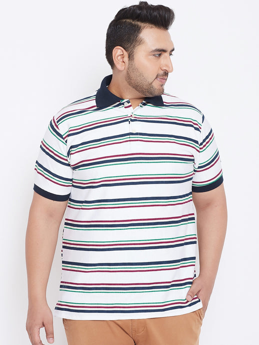 bigbanana Algie White Striped Polo Collar T-shirt