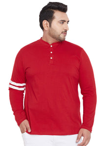 bigbanana Allen Red Solid Henley T-shirt
