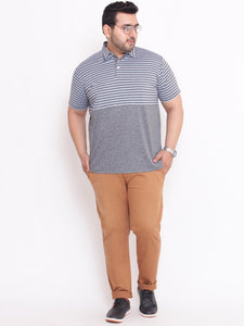 Plus size Alley Polo Grey T-shirt with Stripes