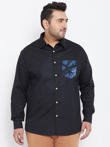 bigbanana Alvah Black Classic Regular Plus Size Fit Solid Casual Shirt