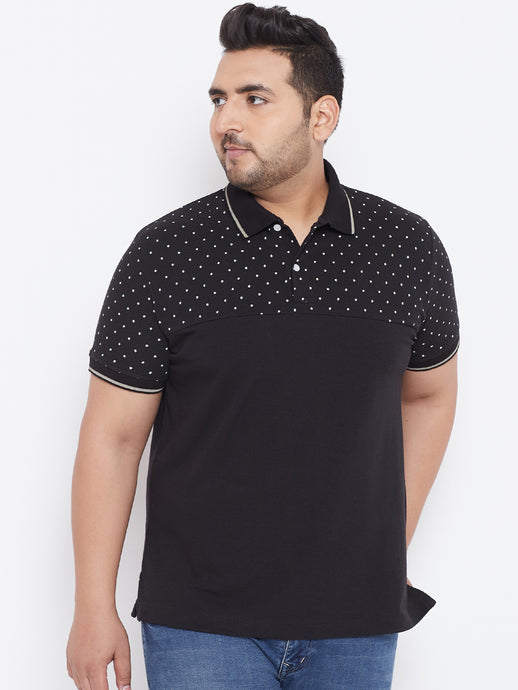 bigbanana Amazon Black Printed Polo Collar T-shirt