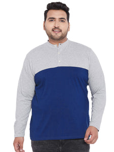 bigbanana Arden Blue Colorblocked Plus Size Henley Neck T-shirt