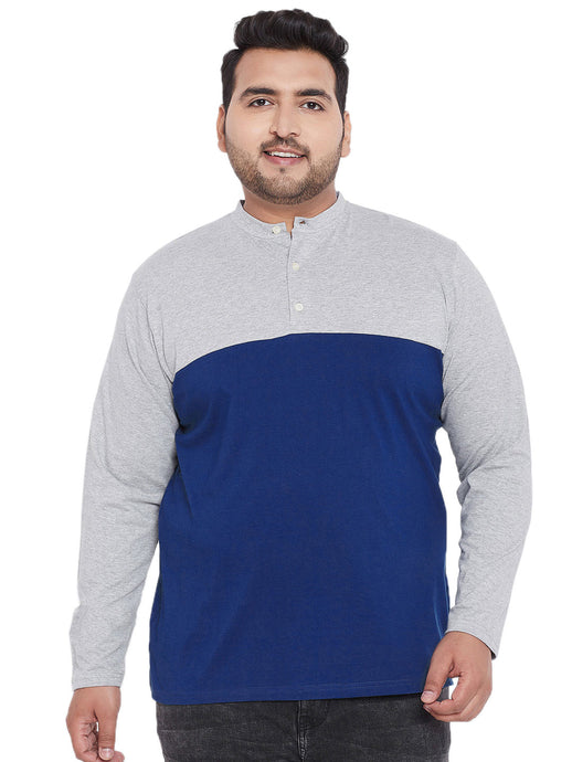 bigbanana Arden Blue Colorblocked Henley Neck T-shirt