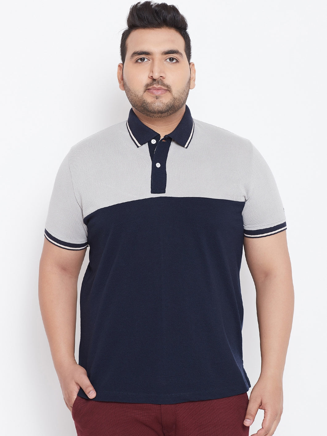 bigbanana Arnold Navy Blue Colourblocked Plus Size Polo Collar T-shirt
