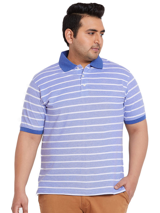 bigbanana Astrix Sky Blue Stripe Polo Plus Size T-Shirt