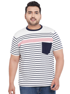 bigbanana Athens White Striped Round Neck Plus Size T-shirt