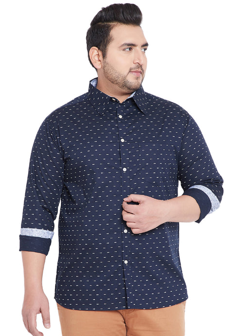 bigabanana Bubby Navy Blue Classic Regular Fit Printed Casual Shirt