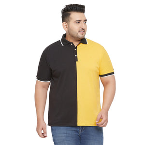 bigbanana Bale Yellow and Black Plus Size Colorblocked Polo T-Shirt
