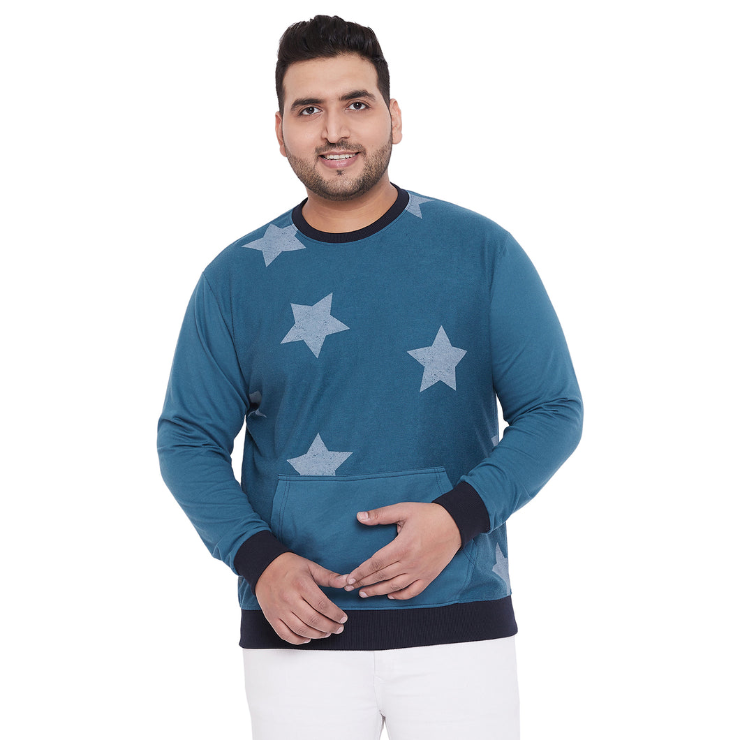 bigbanana Binky Teal Color Printed Plus Size Sweatshirt