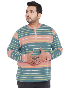 bigbanana Brando Multi Striped Plus Size Henley Neck T-shirt