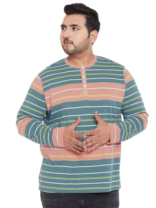 bigbanana Brando Multi Striped Henley Neck T-shirt