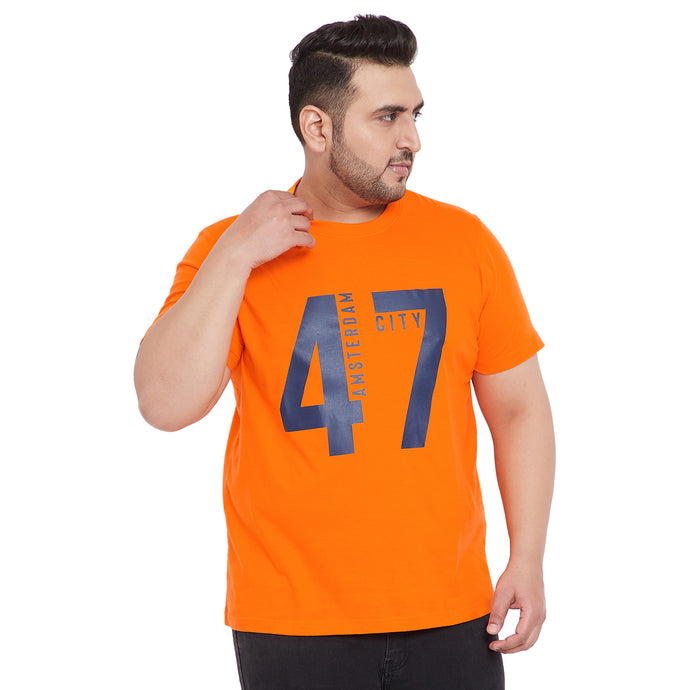 bigbanana Bravo Orange Printed Plus Size Round Neck T-shirt