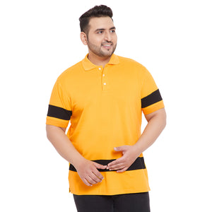 bigbanana Bron Yellow & Black Colourblocked Polo Collar T-shirt