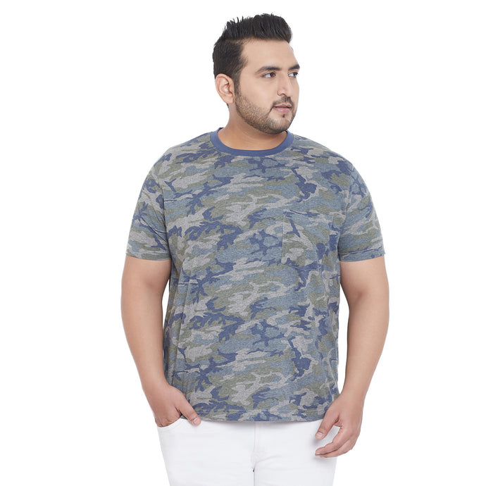 bigbanana Brooks Camouflage Printed Plus Size Round Neck T-shirt